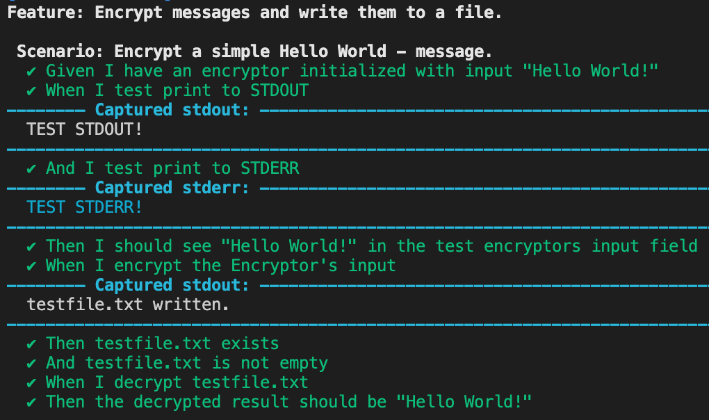 Cucumber-rust's Debug mode produces sections in the test's cli output called Captured stdout and Captured stderr respectively. Captured stdout contains stdout text in white, Captured stderr contains stderr text in blue.